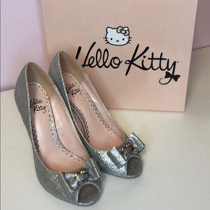 Hello kitty silver glitter heels